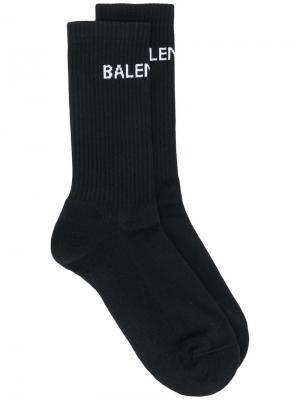 Теннисные носки с логотипом Balenciaga. Цвет: черный
