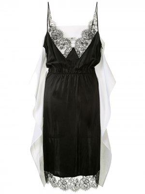 Платье-комбинация с кружевом MM6 Maison Margiela. Цвет: черный