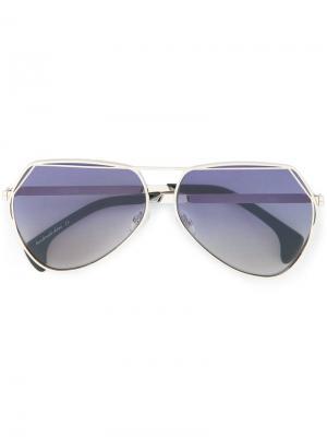 Солнцезащитные очки-авиаторы с затемненными линзами Wildfox. Цвет: синий