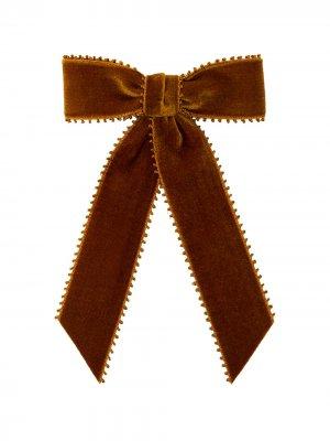 Бархатная заколка для волос Naomi Jennifer Behr. Цвет: желтый