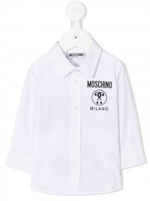 Рубашка с логотипом Moschino Kids. Цвет: белый