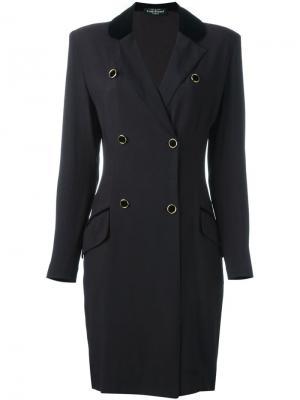Двубортное пальто Louis Feraud Vintage. Цвет: черный