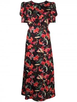 Платье с короткими рукавами и цветочным принтом Saloni. Цвет: черный