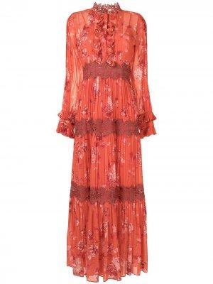 Ярусное платье макси с цветочным принтом Alexis. Цвет: оранжевый