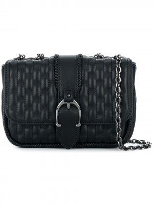 Стеганая сумка на плечо с ручками цепочке Longchamp. Цвет: черный