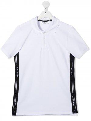 Рубашка поло с полосками Givenchy Kids. Цвет: белый