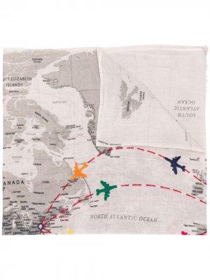 Платок Aeroplano с вышивкой Faliero Sarti. Цвет: нейтральные цвета