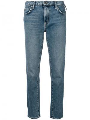 Укороченные джинсы средней посадки Current/Elliott. Цвет: синий