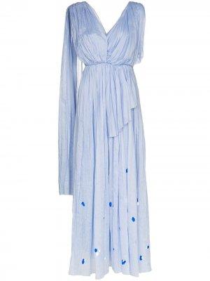 Платье макси асимметричного кроя со складками Vika Gazinskaya. Цвет: синий