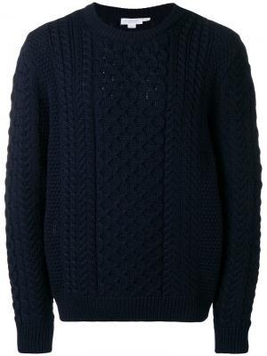 Вязаный свитер с косами Sunspel. Цвет: синий