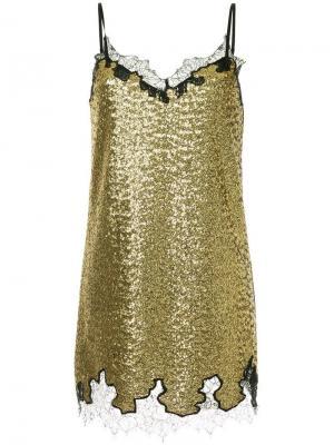 Платье с пайетками Robert Rodriguez. Цвет: желтый