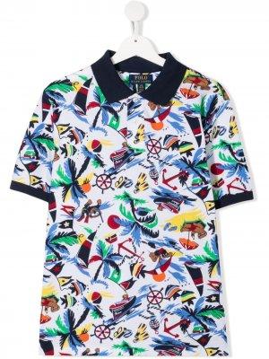 Рубашка поло с принтом Ralph Lauren Kids. Цвет: белый