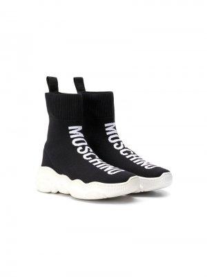 Высокие кроссовки-носки с логотипом Moschino Kids. Цвет: черный