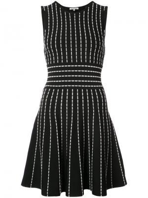 Расклешенное платье в полоску Ronny Kobo. Цвет: чёрный