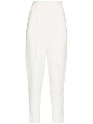Зауженные брюки с завышенной талией ANOUKI. Цвет: белый