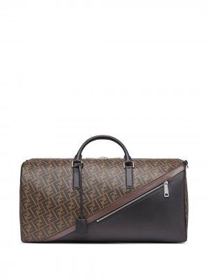 Дорожная сумка с логотипом FF Fendi. Цвет: коричневый