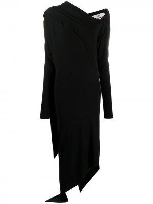 Платье асимметричного кроя с драпировкой Vivienne Westwood Anglomania. Цвет: черный