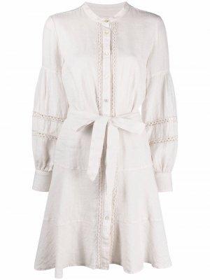 Платье-рубашка с вышивкой 120% Lino. Цвет: нейтральные цвета