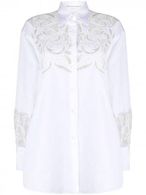 Кружевная рубашка с прорезями Ermanno Scervino. Цвет: белый