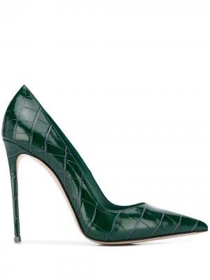 Туфли-лодочки Eva с тиснением под кожу крокодила Le Silla. Цвет: зеленый