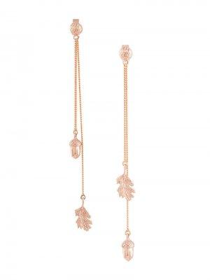 Золотые серьги-подвески Karen Walker. Цвет: золотистый
