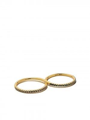 Кольцо из желтого золота с бриллиантами Ileana Makri. Цвет: champagne / зеленый