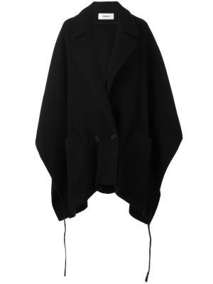 Двубортное пальто-пончо Chalayan. Цвет: черный