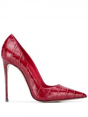 Туфли-лодочки Eva с тиснением под кожу крокодила Le Silla. Цвет: красный