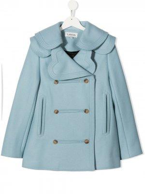 Двубортное пальто с контрастным воротником LANVIN Enfant. Цвет: синий
