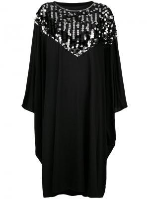 Платье-кейп с отделкой пайетками Mm6 Maison Margiela. Цвет: черный
