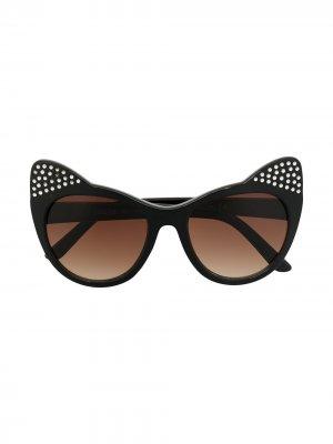 Солнцезащитные очки в оправе кошачий глаз с кристаллами Molo. Цвет: черный