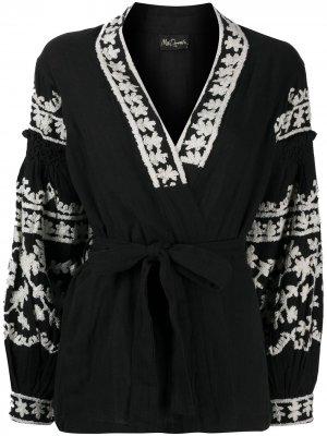 Блузка с вышивкой Mes Demoiselles. Цвет: черный