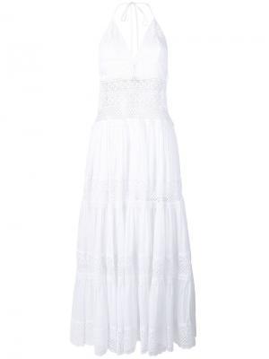 Платье с кружевной вышивкой Charo Ruiz. Цвет: белый