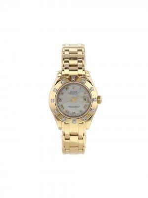 Наручные часы Datejust Pearlmaster pre-owned 29 мм 1995-го года Rolex. Цвет: mother-of-pearl