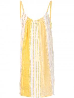 Платье-комбинация в полоску lemlem. Цвет: оранжевый