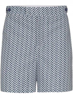 Плавки-шорты строгого кроя с принтом Beam Frescobol Carioca. Цвет: синий
