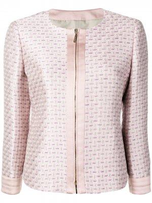 Жаккардовый пиджак с геометричным узором Giorgio Armani. Цвет: розовый
