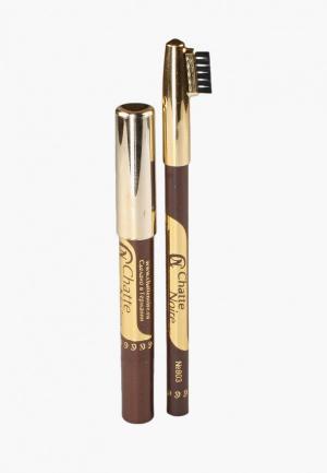 Набор для макияжа бровей Chatte Noire. Цвет: коричневый