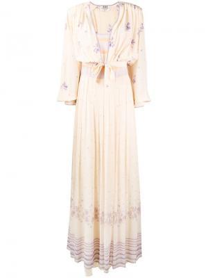 Платье с накидкой цветочным принтом A.N.G.E.L.O. Vintage Cult. Цвет: нейтральные цвета