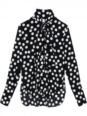Рубашка в горох с бантом Carolina Herrera. Цвет: черный
