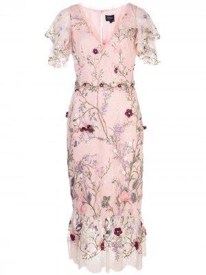 Платье с цветочной вышивкой Marchesa Notte. Цвет: розовый