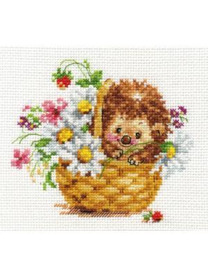 Набор для вышивания Ежик в ромашках  13х11 см Алиса. Цвет: белый, коричневый, красный