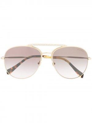 Солнцезащитные очки-авиаторы Miu Eyewear. Цвет: золотистый