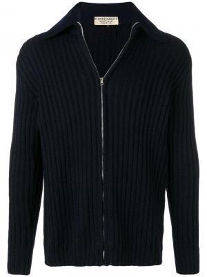 Вязаный кардиган в рубчик стиле 1970-х Pierre Cardin Vintage. Цвет: синий