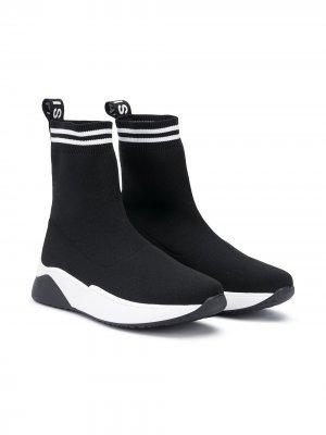 Кроссовки-носки Balmain Kids. Цвет: черный