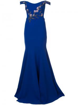 Вечернее платье с открытыми плечами и вышивкой Marchesa Notte. Цвет: синий