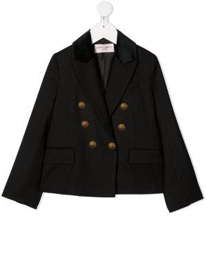 Двубортный пиджак с бархатными вставками Alberta Ferretti Kids. Цвет: черный
