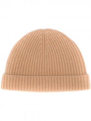 Кашемировая шапка бини в рубчик N.Peal. Цвет: коричневый