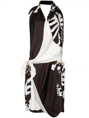 Платье с зебровым принтом Bottega Veneta. Цвет: коричневый