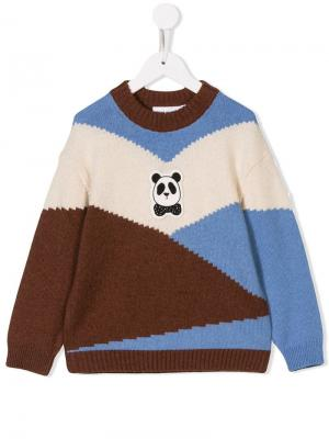 Panda-patch colour block jumper Mini Rodini. Цвет: коричневый